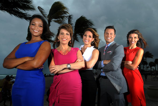Denise Isaac, from left, WSCV-Ch.51; Paola Elorza, Univision 23; Shiri Spear formerly of WTVJ-Ch.6; Scott Padgett and Julie Durda, of WPLG_Ch. 10