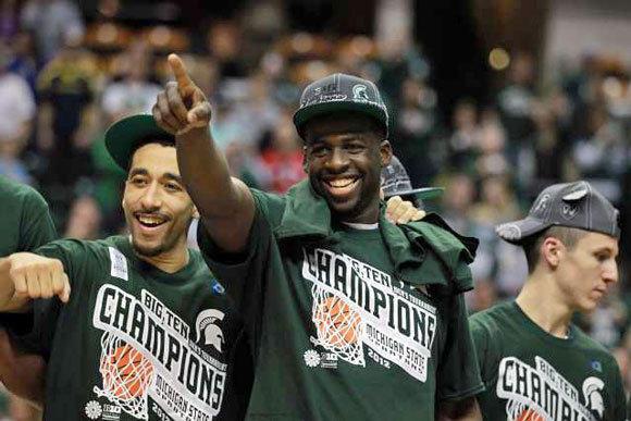 Brandon Wood, left, and Draymond Green of Michigan State celebrate winning the Big 10 Conference tournament Sunday.