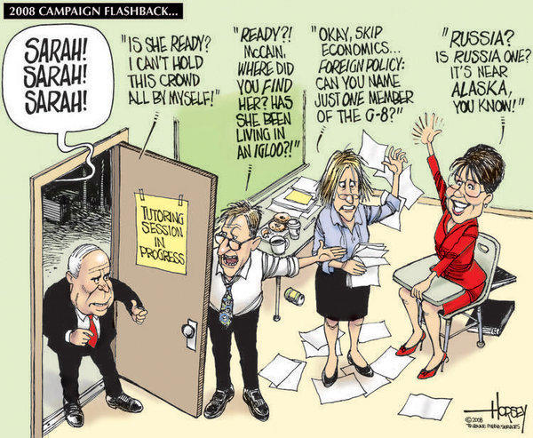 "Like the HBO movie ""Game Change,"" a Horsey cartoon from September 2008 illustrates how the McCain campaign quickly recognized the impulsive recklessness of picking Sarah Palin."