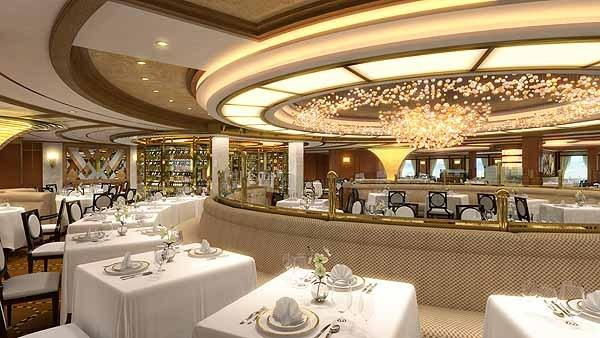 This rendering shows the Forward Dining Room aboard the new Princess Cruises Royal Princess, set to debut in June 2013.