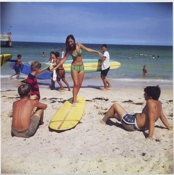 "An image of Miami Pier in the mid-1960s, which saw a surge of surfing popularity in the same decade thanks to Hollywood movies such as ""Gidgett"" and Avalon/Funichello beach films. The image is among hundreds of photographs documenting Florida's surfing history for ""Surfing Florida: A Photographic History,"" on display through May 12 at Florida Atlantic University's Schmidt Center gallery."