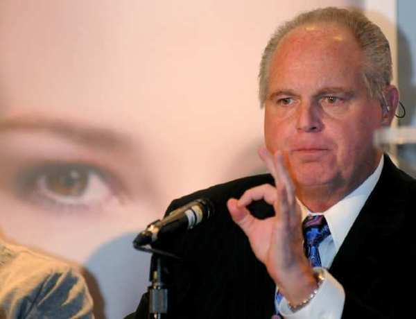 "Rush Limbaugh, seen here on Jan. 27, 2010, called law school student Sandra Fluke a ""slut"" and a ""prostitute"" after she testified to Congress on Feb. 23. She argued that the insurance she pays for at Georgetown should cover prescription contraception for women."
