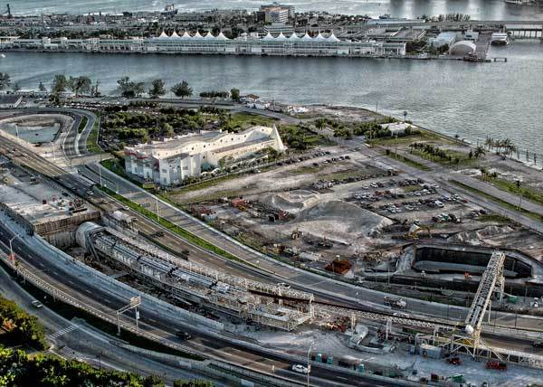 This is the aerial view of the Port of Miami Tunnel project on Wednesday, November 9, 2011 in Miami, Florida.