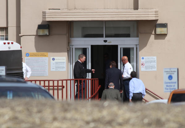 Former Gov. Rod Blagojevich arrives at Federal Correctional Institution Englewood with his lawyers Aaron Goldstein, right, and Sheldon Sorosky to begin serving his 14-year sentence on federal corruption charges.