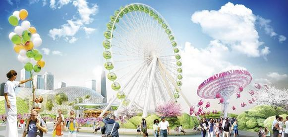 The artist's rendering shows a mixing of nature and fantasy, a team led by James Corner Field Operations calls for remaking Navy Pier's midsection with (from left to right) hanging gardens in the Crystal Gardens, new cabs on the Ferris wheel and a renovated swing ride with new swings.