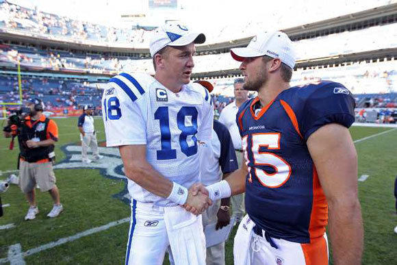 Indianapolis Colts quarterback Peyton Manning, left, greets Denver Broncos quarterback Tim Tebow in 2010.