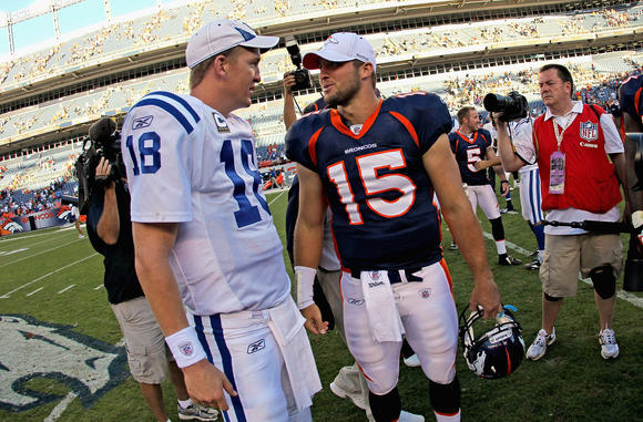 Besties: Peyton Manning and Tim Tebow.