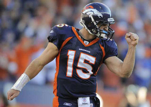 Tim Tebow with the Broncos last season. The St. Louis Rams might still be interested in making a deal for him if he becomes available again.