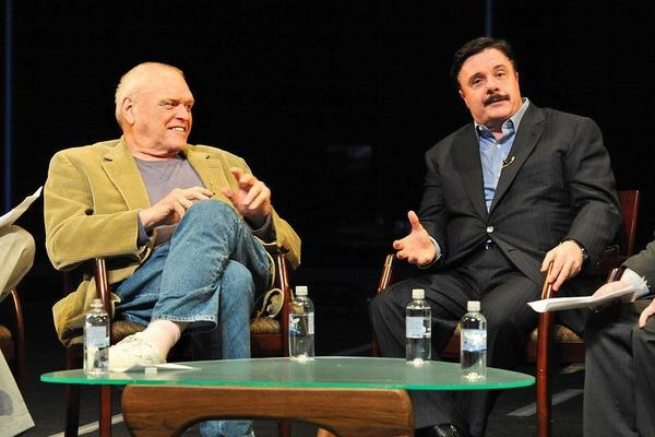 Talking onstage with Brian Dennehy, Nathan Lane at Artist Encounter at the Goodman Theatre.