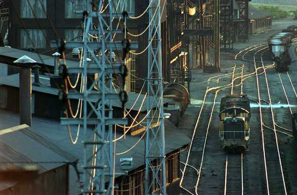 Trains carry molten iron to other parts of Bethlehem Steel Corp.', Bethlehem plant.