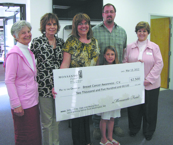 From left, Monda Sagalkin, BCA-CV board president; Renee Cromwell, Wendy Price's mother; Wendy Price; Dale Price; Nina Price (daughter); and Joan Fell, BCA-CV executive director, met recently as the Price family donated its $2,500 winnings to the nonprofit.
