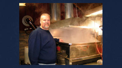 Maple King Lynn Baer of Friedens comes from a family history of syrup making through Baer Brothers Sugar Camp near Geiger. Nowadays, he enjoys boiling at Paul Bunyan Sugar Camp near Rockwood.
