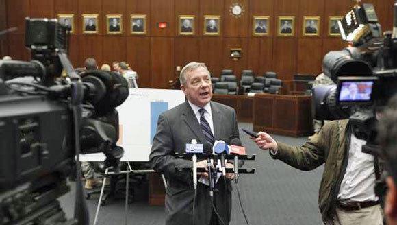 Dick Durbin addresses the media in January.