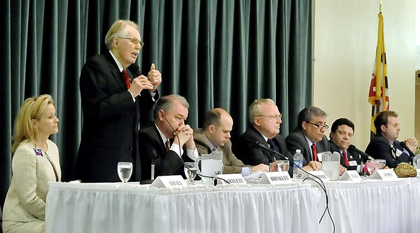 Rep. Roscoe G. Bartlett speaks  during a forum for 6th District Congress candidates at Next Demensions Thursday evening.