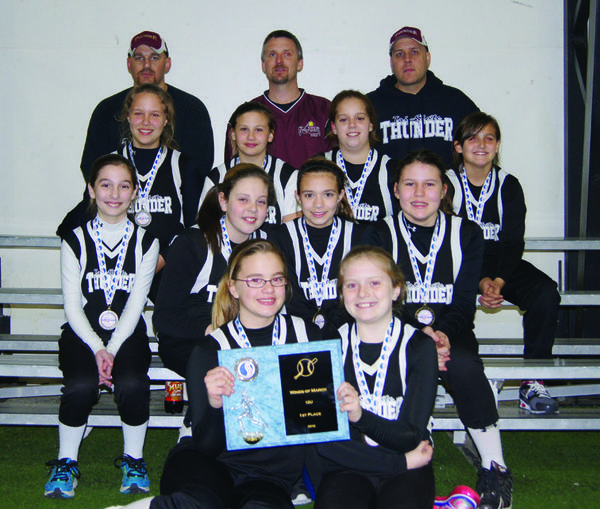 The Tri-State Thunder 12U girls travel softball team won first place in the Winds of March Tournament on March 10 in Hershey, Pa. From left to right: Top row -- head coach Robert Toms, assistant Tim Mongold and assistant Jim Powell. Second row -- Jenna Powell, Abby Ebersole, Sydney Lamb and Alayna Pettyjohn. Third row -- Maria Burkett, Taylor McCarty, Jordyn Amsley and BayLee Jenkins. Bottom row -- Mikaylah Toms and Jenna Mongold.