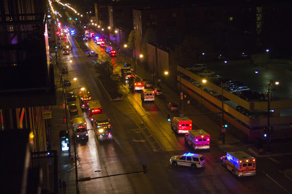 Chicago police and fire departments respond to a reported fire in the Red Line tunnel near Roosevelt Road early Friday morning.