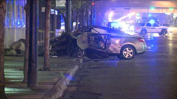 This car and another car were involved in a crash that left one woman dead and three others injured, police said.