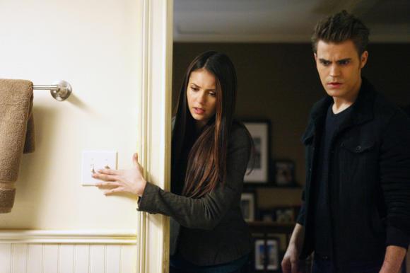 L-R: Nina Dobrev as Elena and Paul Wesley as Stefan in 'Break on Through.'