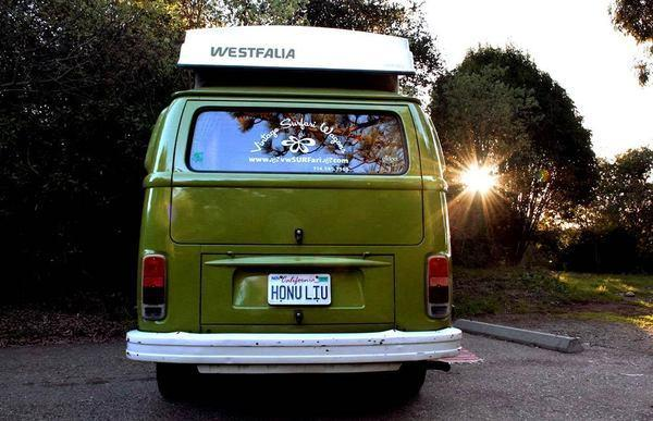Looking shiny and new, this '79 VW bus was a hit on the road.