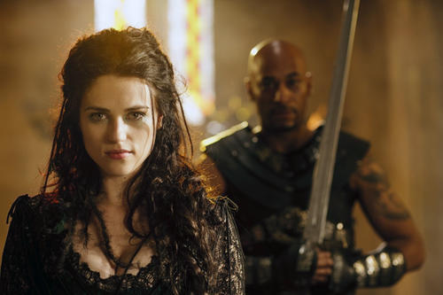 Morgana (Katie McGrath) and Southron leader Helios (Terence Maynard) conquer Camelot.
