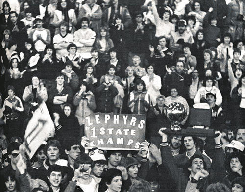 Whitehall fans greet the state champion Whitehall boys basketball team on March 28, 1982, in Whitehall, after the team arrived back home from Hershey after winning the title on March 27, 1982. The state championship trophy is being hoisted (in the right corner of the photo).