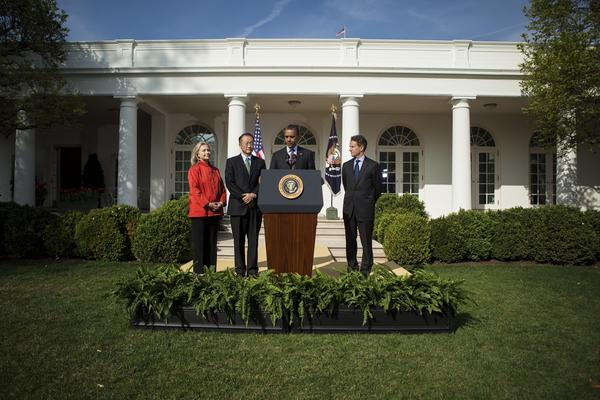 President Obama speaks in the Rose Garden of the White House, along with Secretary of State Hillary Rodham Clinton, Dartmouth College President Jim Yong Kim and Treasury Secretary Timothy Geithner.
