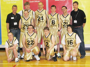 The Aberdeen Thunder Special Olympics team placed first in its division at the Special Olympics State Basketball tournament on March 9-10 in Yankton. In front, from left, are Thomas Van Orman, Wade Uhrich, Matt Zens, Laura Zahn. Back: coach Mike Markley, Jared Markley, Kory Quitsch, Matt Bosch, Josh Johnson, Tyler Habeck and coach Kevin Johnson.