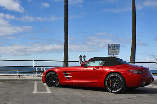 The SLS AMG Roadster gets 563 horsepower and 479 pound-feet of torque from a 6.2-liter V-8 engine mated to a carbon-fiber driveshaft and a seven-speed, dual-clutch automated manual transmission moving the rear wheels.