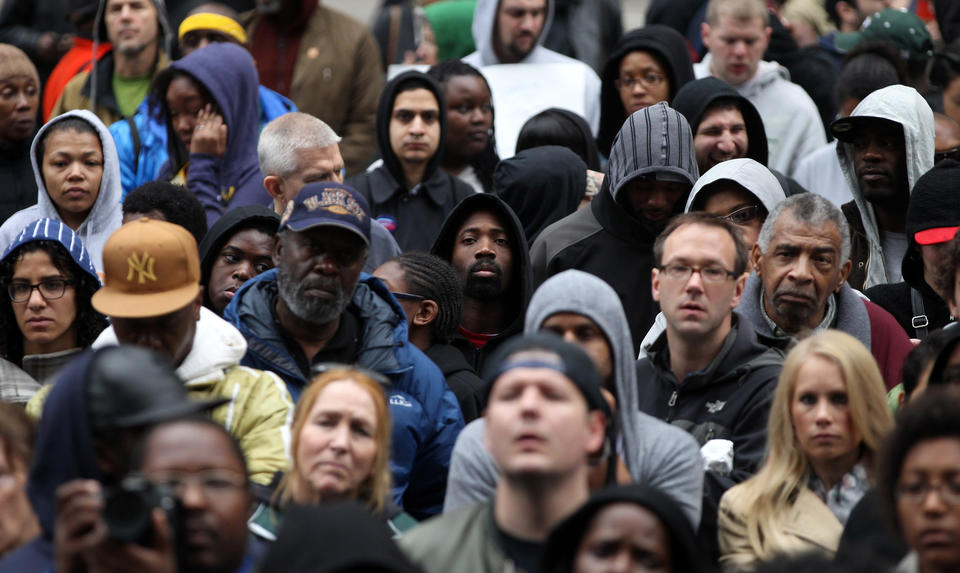 Several hundred people gather during a rally for Trayvon Martin in Daley Plaza on Saturday.
