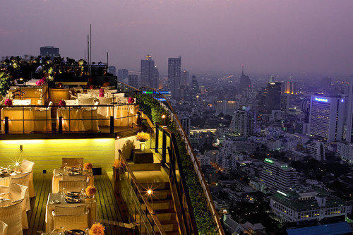 Vertigo Restaurant and Moon Bar atop the 61st-floor rooftop of the Banyan Tree Bangkok Hotel.