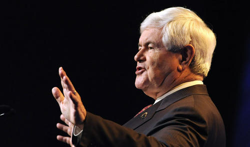 Republican Presidential candidate Newt Gingrich speaks at Pennsylvania Leadership Conference in Camp Hill Saturday.