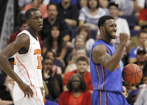 Florida's Patric Young celebrates a play.