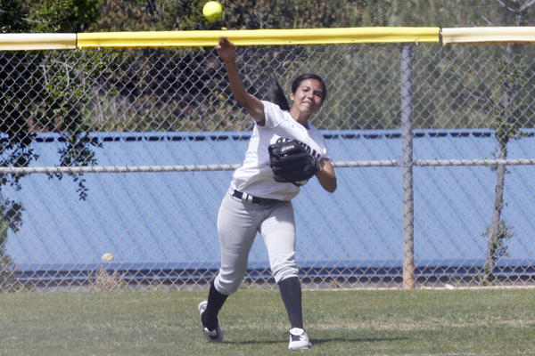GCC's Nancy Pinedo throws the ball during a game against San Diego Mesa at Glendale Sports Complex on Saturday, March 24, 2012.