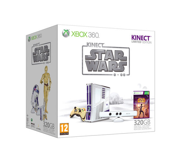 Bundle includes Kinect Star Wars game, console, wireless controller, Kinect sensor, 320 GB hard drive, Xbox 360 wired headset, exclusive downloadable content and Kinect Adventures game.