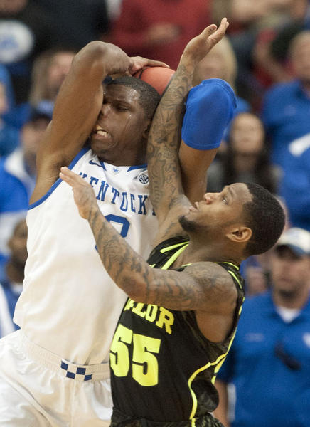Terrence Jones fights for a rebound in UK's win over Baylor Sunday.