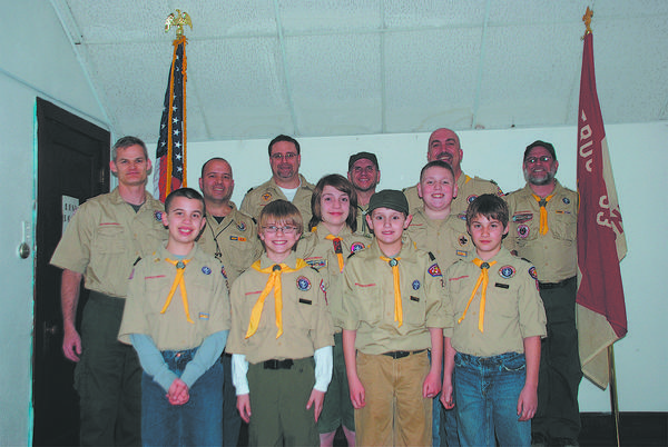 Front row, from left, Boy Scouts Jared Harriman, James Becker, Will Hildebrand, Kaleb Morris, Dustin Worton and Jacob Pence. Back row, adult leaders Anthony Pence, Don Harriman, Kendall Morris, Buddy Rizer, Doug Hildebrand and Rich Gaver.