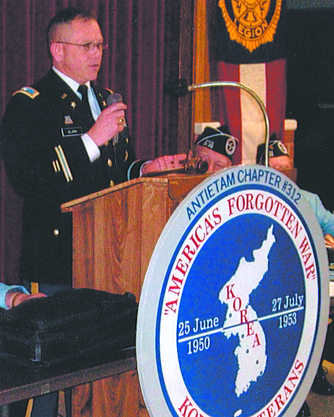 Col. David L. Clark, who heads the 60th Anniversary Commemorative Committee for the Department of Defense, was the keynote speaker as Korean War Veterans Antietam Chapter 312 hosted a get-together of Korean War veterans from Maryland and Virginia March 7 at Dixon-Troxell Post 211 American Legion in Funkstown.