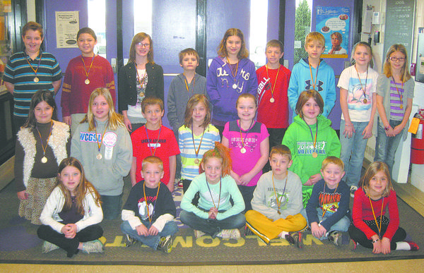 Old Forge Elementary School students exhibited the Character Counts! pillar of fairness for February: row one, from left, Kendra Winders, Lance DeGrange, Sydney Schlotterbeck, Joshua Goodmansen, Wyatt Burleson and Norah Keller. Row two, Bridget Plank, Emily Hixon, Ryan Linn, Rachel Trumpower, Paige Huntzberry and Megan Domenico. Row three, Griffin Vizina, Joshua Kebe, Kara Poole, Brady Heuer, Madaline Plank, Austin Linn, Ryan Bickford, Abbey Scott and Brooke Ammons. Absent from photo: Ashiah Morningstar and Rachel Wooster.