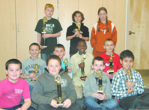 Rockland Woods Elementary School held its fourth annual Math Ace competition recently. Front row, from left, third-graders James Haney, Sean Baer, Christopher Barnhart and Jason Huyhn; second row, fourth-graders Sebastian Stocks, Jacob Miner, Malakai Pinckney and David Butts; back row, fifth-graders Steven Witmer, Dylan Palladino and Xianvieve Hulbert. Not pictured: Ryan Barnett.