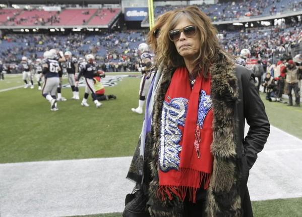 Steven Tyler at the NFL AFC Championship football game before singing the national anthem