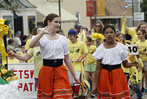 Despite road construction, the annual  parade moved through town to the delight of the festival goers.