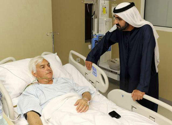 Sheik Mohammed bin Rashid Al Maktoum, the ruler of Dubai, visits Bob Baffert in the hospital after the horse trainer had a heart attack.