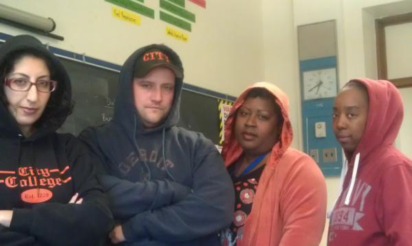 City College teachers in their hoodies