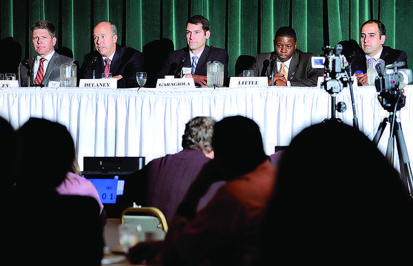 Democratic candidates for the Maryland 6th District seat in the U.S. House of Representatives gather Monday at Hager Hall for a forum sponsored by the Hagerstown-Washington County Chamber of Commerce. From left are Charles Bailey, John Delaney, Robert J. Garagiola, Ron Little and Dr. Milad J. Pooran