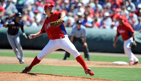 Philadelphia Phillies pitcher Joe Blanton (56) delivers a pitch during the fifth inning against the Boston Red Sox's at Brighthouse Field in Clearwater FL. Monday afternoon.