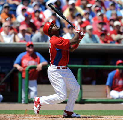 Philadelphia Phillies Jimmy Rollins (11) watches his pop-up during their game with the Boston Red Sox's at Brighthouse Field in Clearwater FL. Monday afternoon.