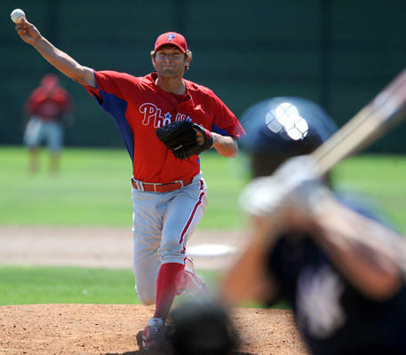Philadelphia Phillies AAA team (Lehigh Valley IronPigs) pitcher Michael Schwimmer delivers a pitch against the AAA Yankees in Clearwater, Fl. Monday.