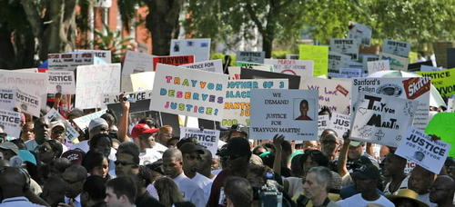 A massive rally in support of justice for justice Trayvon Martin in Sanford.