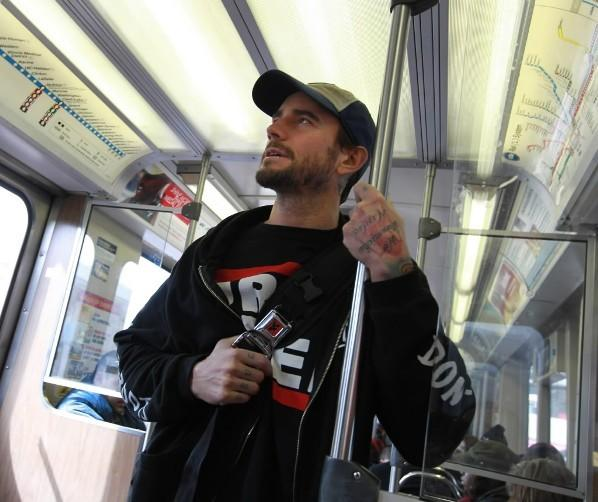 WWE Champion CM Punk on the CTA Blue Line March 8, 2012