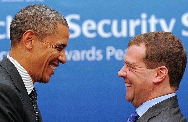 President Obama and Russian President Dmitry Medvedev after their meeting in Seoul.